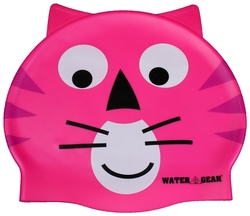 Water Gear Critter Silicone Swim Caps - Pink Cat