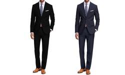 Braveman Men's Two Piece Classic Fit Suit - Black/Navy - Size: 36S x 30W