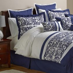 Alcove Ambrosia 30 Piece Comforter Set - Navy - Size: King