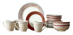 Mcleland Design Stripes 16 Piece Porcelain Dinnerware Set - Red