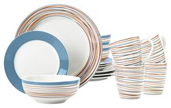 Mcleland Design Stripes Porcelain 16 Piece Dinnerware Set - Blue
