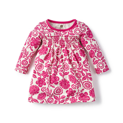 Tea Girl's Potosi Smocked Dress - Fuchsia - Size: 6-12m