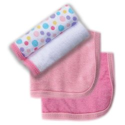 "Luvable Friends 4 Pack Wash Cloths - Pink - Size: 9""x9"""