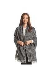 Steve Madden Women's Heathered Boucle Blanket Wrap - Black/Grey - Size: 2