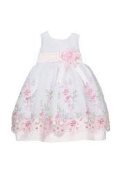 Mayoral Girl's Embroidered Flowers Dress - White/Pink - Size: 12 Month