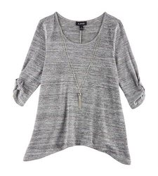 A. Byer Women's Necklace & Sharkbite Hem Top - Grey - Size: Small