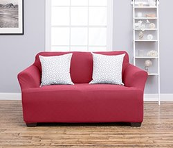 Plush Stretchy Form-Fitting Heavyweight Slipcover: Love Seat/Burgundy