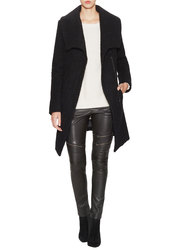 Dawn Levy 2 Adelaide Wool Coat With Oversized Collar - Black - Size: Large