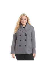 Rampage Women's Double Breasted Peacoat - Charcoal - Size: 1X