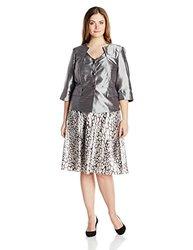 Dana Kay Women's Plus-Size Satin Animal Print Skirt - Silver - Size: 14