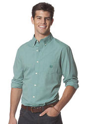 Chaps Big & Tall Checked Poplin Shirt Congo Green
