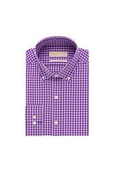 Michael Kors Men's Slim Fit Check Print Dress Shirt - Purple - Size: 3