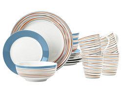 Mcleland Design Stripes 16 Piece Porcelain Dinnerware Set - Blue