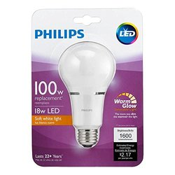 Philips 459107 100 Watt Equivalent Soft White Household A21 Dimmable with Warm Glow Effect LED Light Bulb