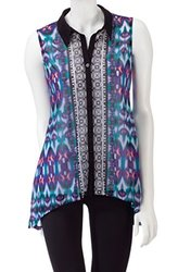 Valerie Stevens Women's Sleeveless Tribal Blouse - Kaleidscope - Size: L