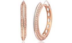 SGS International Swarovski Elements Crystal Hoop Earrings - 18K Rose Gold