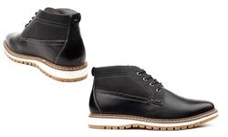Vincent Cavallo Men's 2-Tone Chukka Boots - Black - Size: 10.5