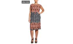 Isle New York Women's Cap Sleeve Printed Sheath Dress - Multi - Size: M