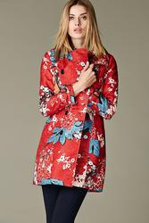 Vertigo Women's Double Breasted Trenchcoat - Red Floral Print