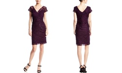 Scarlett Lace Cocktail Dress - EggPlant - Size: 22 (L/S)
