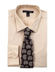 "Ivy Crew Men's 2PC Fit Solid Color Dress Shirt Box Set - Taupe - Size: 15"""