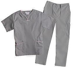 Natural Uniforms Women's Contrast Trim Scallop Scrub Set -  Grey - Size: XL
