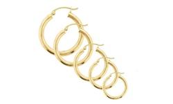 REL 12 mm 14K Solid Yellow Gold High Polish Hoop Earrings
