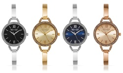 So & Co New York Swiss Crystal Studded Dress Watch - Silver/Blue