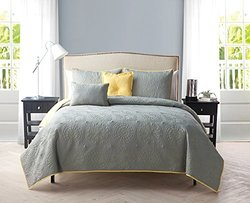 Embroidered Reversible 5-Piece Quilt Sets: Yellow/Grey-Queen