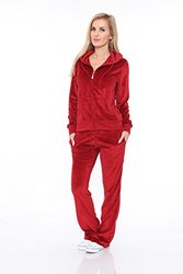 WM Women's Velour Lounge Suit 2PC Set - Brick Red - Size: Small