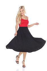 Women's Flared Midi Skirt with Pockets - Black - Size: Large