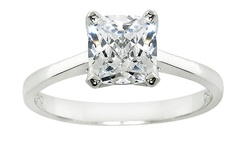 Sterling Silver CZ Solitaire Ring Princess White Gold - Size: 8