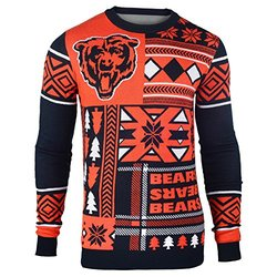NFL Chicago Bears Patches Ugly Sweater - Blue - Size: Small
