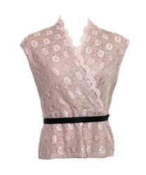 Marina Women's Sequin Floral Belted Blouse - Blush Pink - Size: M