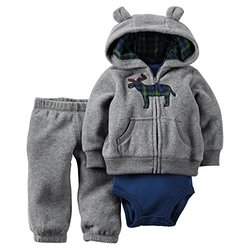Carter's Baby Boys 3-Piece Cardigan Set Grey Plaid Moose - Size: 12M