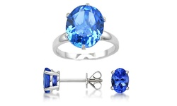 Women's 3Pc 7.00 CTTW Genuine Tanzanite Ring & Earrings Set - Blue - Sz: 6