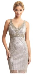 Sue Wong Women's V Neck Beaded Trim Dress - Platinum - Size: One