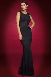 Alberto Makali Swiss Dot Mesh & Lace Gown - Black - Size: Small