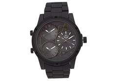 NY London Gigante Men's 3 Time Zone Watch: 62627828/Black Band-black Dial