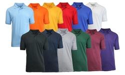 Harvic Men's Pique Polo Shirt 3PK - Royal/Heather Grey/Red - Size: Medium