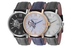 Rudiger Men's Stuttgart Analog Display Automatic Self Watch - Brown
