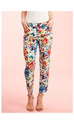 Zac & Rachel  Printed Cotton Twill Pant - Orange Multi - Size: 12