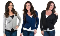 Women's Cropped Button-front Cardigan: Black/large