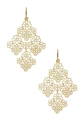 Stella & Ruby 14K Gold Plated Floral Filigree Drop Earrings