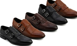 Xray Men's Double Monk Strap Shoes - Herzl/Brown - Size: 8.5