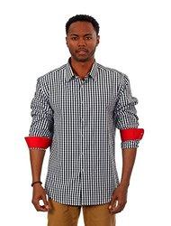 Men's Gingham Long-sleeve Shirts: Black/xl