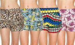 4 Pack Printed Harlem Shorts- (l/xl) Maze, Shock, Fantasy And Jolly Print