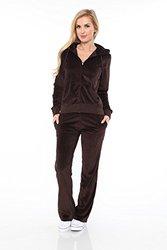 Velour Lounge Suit Two-piece Set: Brown/xl