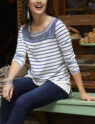 Hannah Mixed Embroidered Striped Top - Blue/White - Size: Large