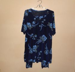 Jostar Women's 2PC Floral Short Sleeve Tunic & Capri Pant - Multi - Size:M